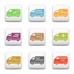 Web buttons, delivery car icons