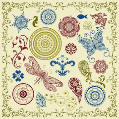 vector summer vintage floral bright  design elements
