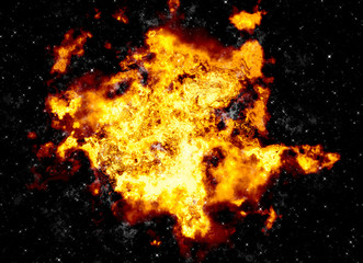 bright explosion flash on a black backgrounds. fire burst