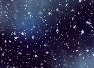 many flying stars on a sky backgrounds