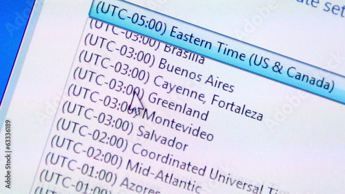 World time zones selection process on a personal computer