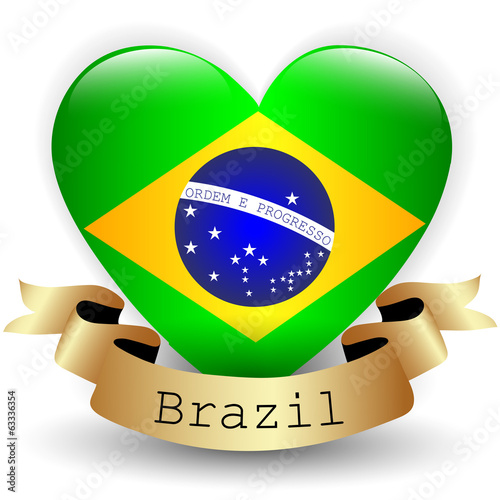 Heart with Brazil flag