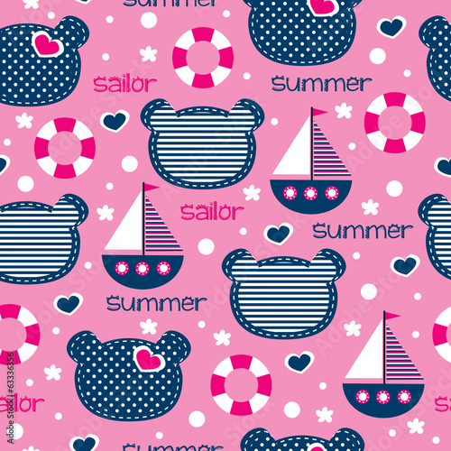 sailor teddy pattern vector illustration