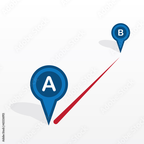 Point A to point B with connecting red line