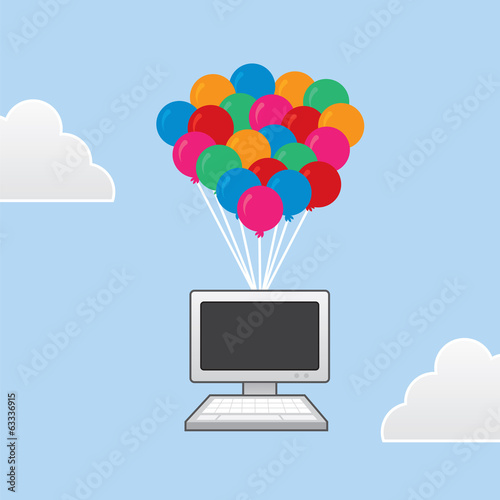 Computer floating in the sky with balloons