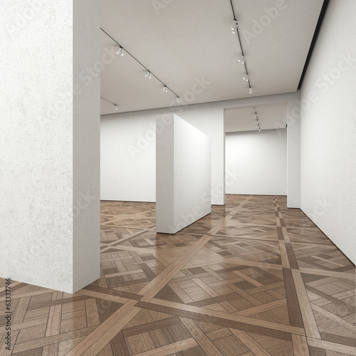 Empty art gallery with wooden floor