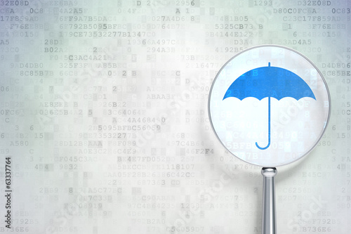 canvas print picture Protection concept: Umbrella with optical glass on digital