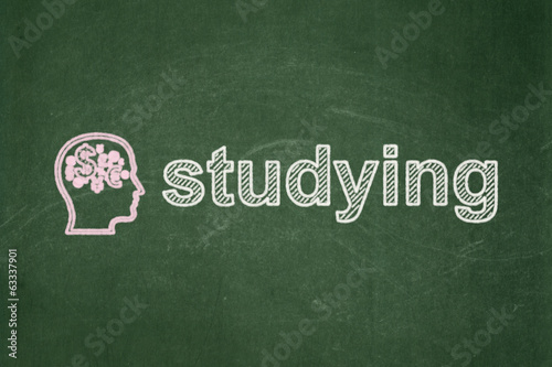 Education concept: Head With Finance Symbol and Studying on