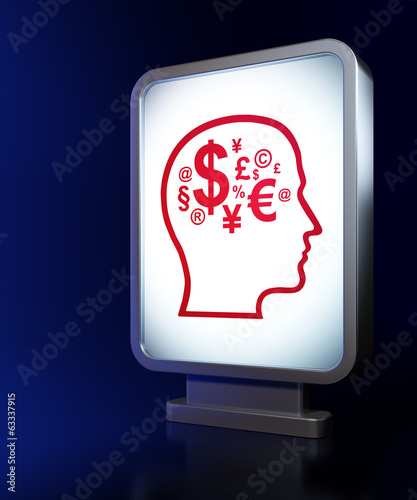 Finance concept: Head With Finance Symbol on billboard