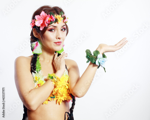 Hawaiian girl showing open palm