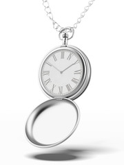 silver pocket watch  with chain