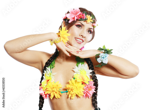 girl with Hawaiian accessories