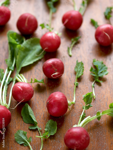 Fresh radish on the wooden background
