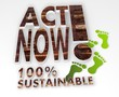 sustainable act now 3d symbol