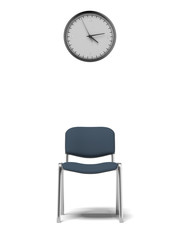 wall clock and office chair