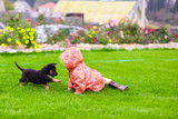 Adorable little girl playing with her puppy outdoor poster
