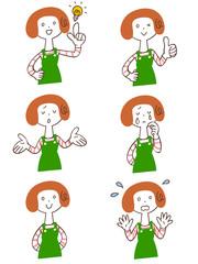 エプロンをつけた女性 6種類の仕草とポーズ