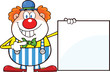 Smiling Clown Cartoon Character Showing A Blank Sign