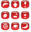 Food and drink red icons set
