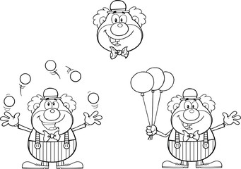 Black and White Funny Clown Cartoon Characters. Collection Set