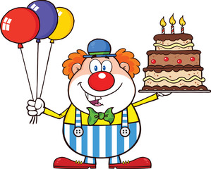 Birthday Clown Character With Balloons And Cake With Candles
