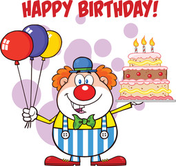 Happy Birthday With Clown With Balloons And Cake With Candles