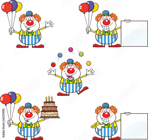 Funny Clown Cartoon Characters 2. Collection Set