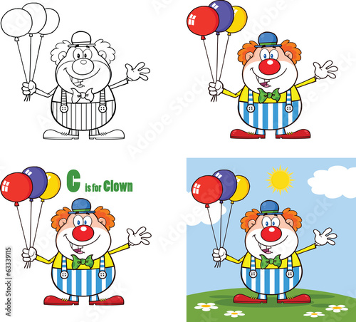 Funny Clown Cartoon Characters 3. Collection Set