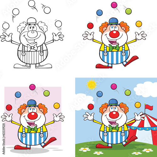 Funny Clown Cartoon Characters 4. Collection Set