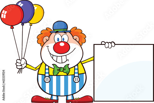 Funny Clown Cartoon Character With Balloons Showing A Blank Sign