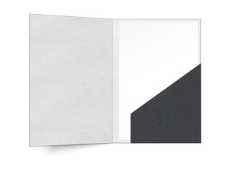 black folder with a sheet