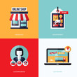 Flat vector design with e-commerce and online shopping icons
