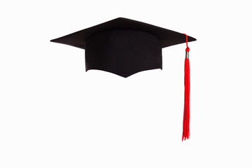 Graduation hat isolated on white background