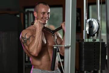 Bodybuilder Exercising Biceps In Healthy Club
