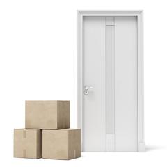 Parcel and white door