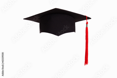Graduation hat isolated on white background