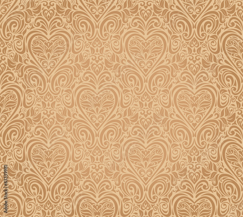 ocher vintage seamless floral background design
