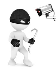 3d white people thief and security camera