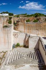 Des'hostal quarry tiny maze in sunny day, Menorca