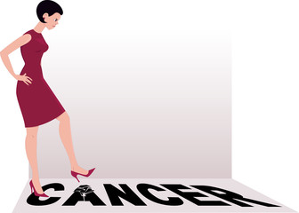 Woman shattering the word cancer with a heel of her shoe