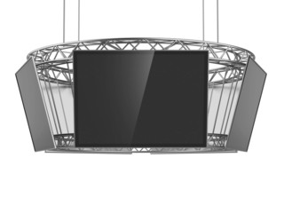 Circle exhibition stand with tv