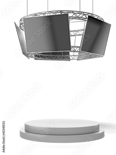 Circle exhibition stand with tv and pedestal
