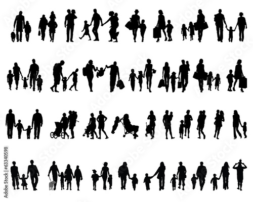 Black silhouettes of families in  walking, vector - 63340598