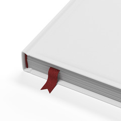 White book with red bookmark