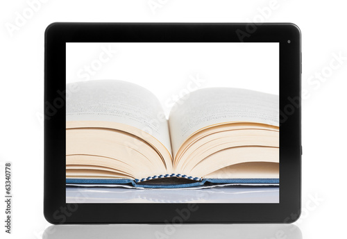 book and tablet pc isolated on white background