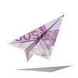 paper plane made with a euro bill