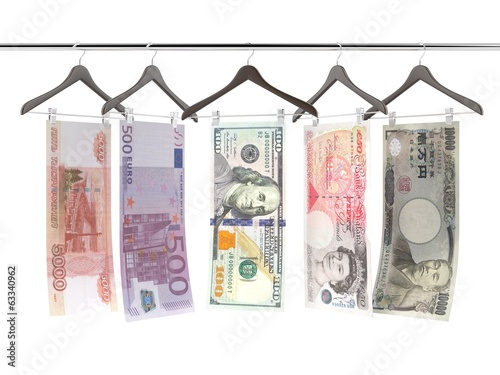 money bills on clothe hangers