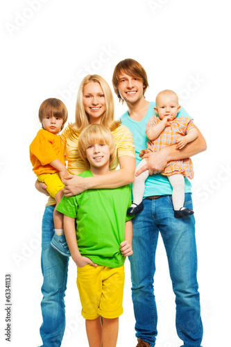Cute happy big young family