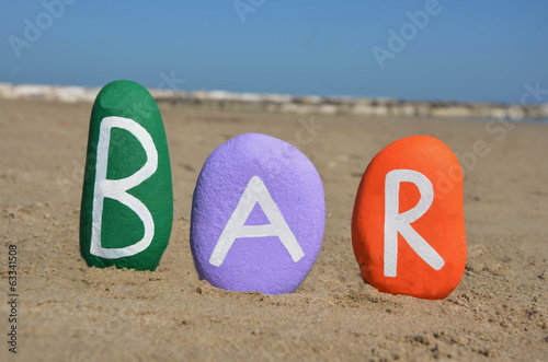 Bar concept on three colourful stones