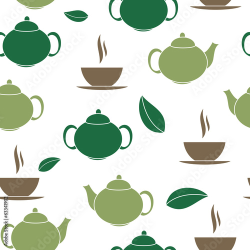 Tapeta ścienna na wymiar Tea Seamless Pattern Background Vector Illustration